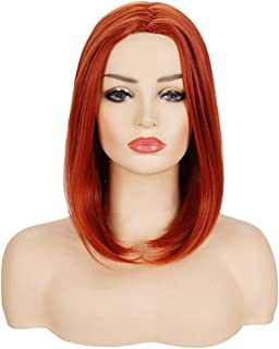 Deifor Short Straight Burnt Orange Middle Part Bob Wigs | Natural Heat Resistant Synthetic Hair Wig for Women Halloween, Cosplay, Party
