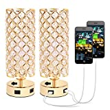 USB Crystal Table Lamp, Small Gold Lamp Sets, Desk Lamp Set of 2 with USB Charging Ports, Bedside Lights with Metal Base, Decorative Lamp Modern Nightstand Lamp for Bedroom Living Room(Set of 2)