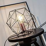 Lámpara de sobremesa de rejilla de cobre retro en aspecto vintage, H 185 cm, Ø 22 cm, 1x E27 max. 60W, metal, negro/cobre