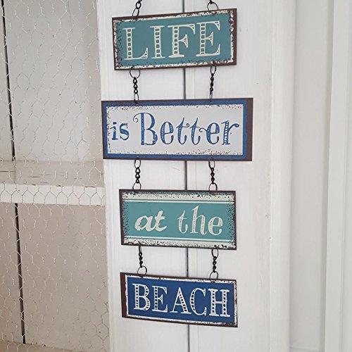Placa decorativa de metal - La vida es mejor en la playa con diseño Vintage