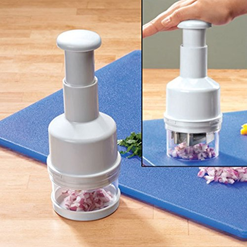 Tritatutto manuale a pressione con copertura, adatto per tritare aglio, cipolla, frutta e verdura, puoi affettare, triturare e grattugiare