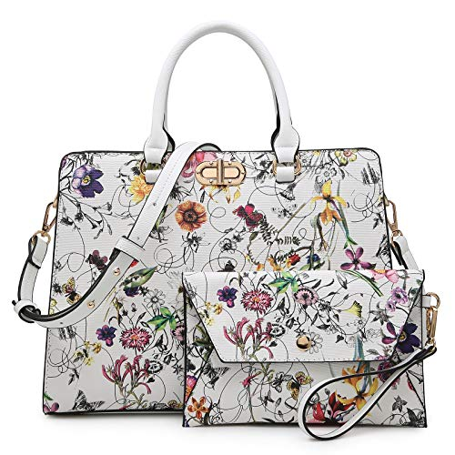 Dasein Handbags for Women Fashion Satchel Purses Top Handle Work Tote Bags Shoulder Bag Wallet 2pcs Set (floral white)