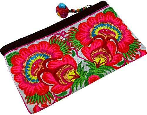 Guru-Shop Kosmetiktasche mit Folklore Stickerei - Pink/weiß, Herren/Damen, Rosa, Baumwolle, Size:One Size, 10x20 cm, Kosmetiktaschen