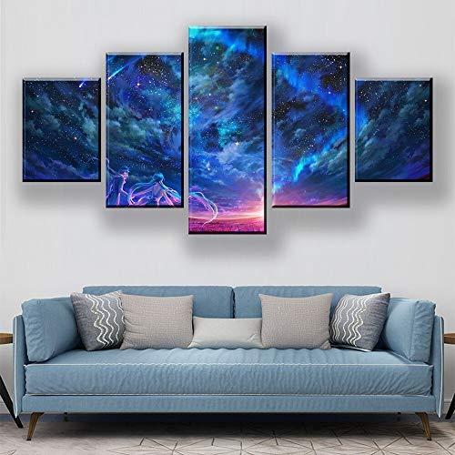 Zaosan 5 Stücke der bunten Himmelkarikaturzeichnung der abstrakten Segeltuchkunst der Inneneinrichtungsdekoration auf der Wand mit Rahmen