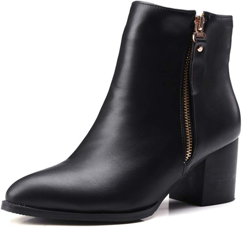 CYBLING Women's Wide Width Short Boots Double Zipper Mid Chunky Block Heel Ankle Booties