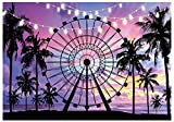 Funnytree 7x5ft Summer Seaside Ferris Wheel Photography Backdrop Tropical Palm Tree Sunset Background Baby Shower Birthday Decor Party Banner Photo Booth Studio Props Mini Session