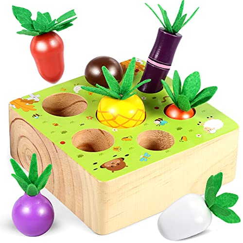 Luclay Juguetes de Zanahoria de Madera para Bebés 1 2 3 4 + Años Niñas niños, Regalo de Juegos Educativos Montessori con 7 Cultivos Diferentes para Cumpleaños, Navidad