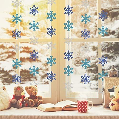 CINMOK 6 Pezzi 190cm Decorazioni Pendenti Fiocchi di Neve,Stringa di Fiocchi di Neve Glitterati Ornamenti Argento Blu Albero Natale Finestra Soffitto Parete Forniture Decorazioni di Natale