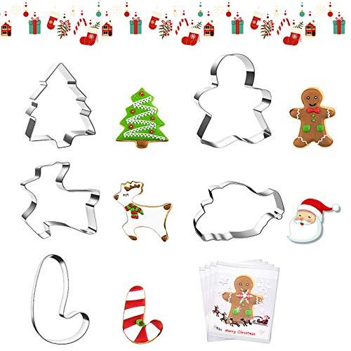 MNBS 5pcs Emporte-pièces de Noël en Acier Inoxydable et 100pcs Cookie Sachettes Moule à Biscuits en Forme du Sapin de Noël, du Renne,du Bonhomme en Pain d'épices, du Sucre d'orge et de Père de Noël…