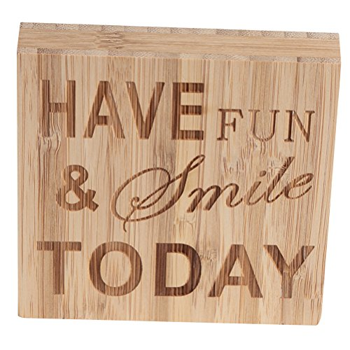 ultnice Madera letras caracteres bloque de caracteres Plaque Ornament Dekor Have Fun Smile Today
