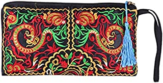 Luxurious Women's Retro Ethnic Embroider Purse Wallet Phone Bag (Galsang Flower),Colour:Galsang Flower (Color : Double Dra...