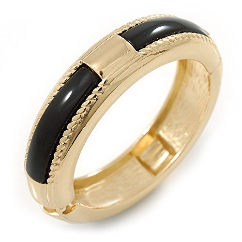 Kunstharz Rund Vergoldet Schwarz Armreif Armband–19cm L