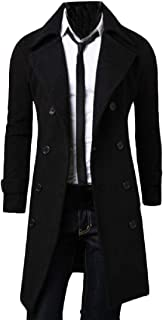 Howme-Men Double-Breasted Long Jacket Trendy Slim Fit Peacoats