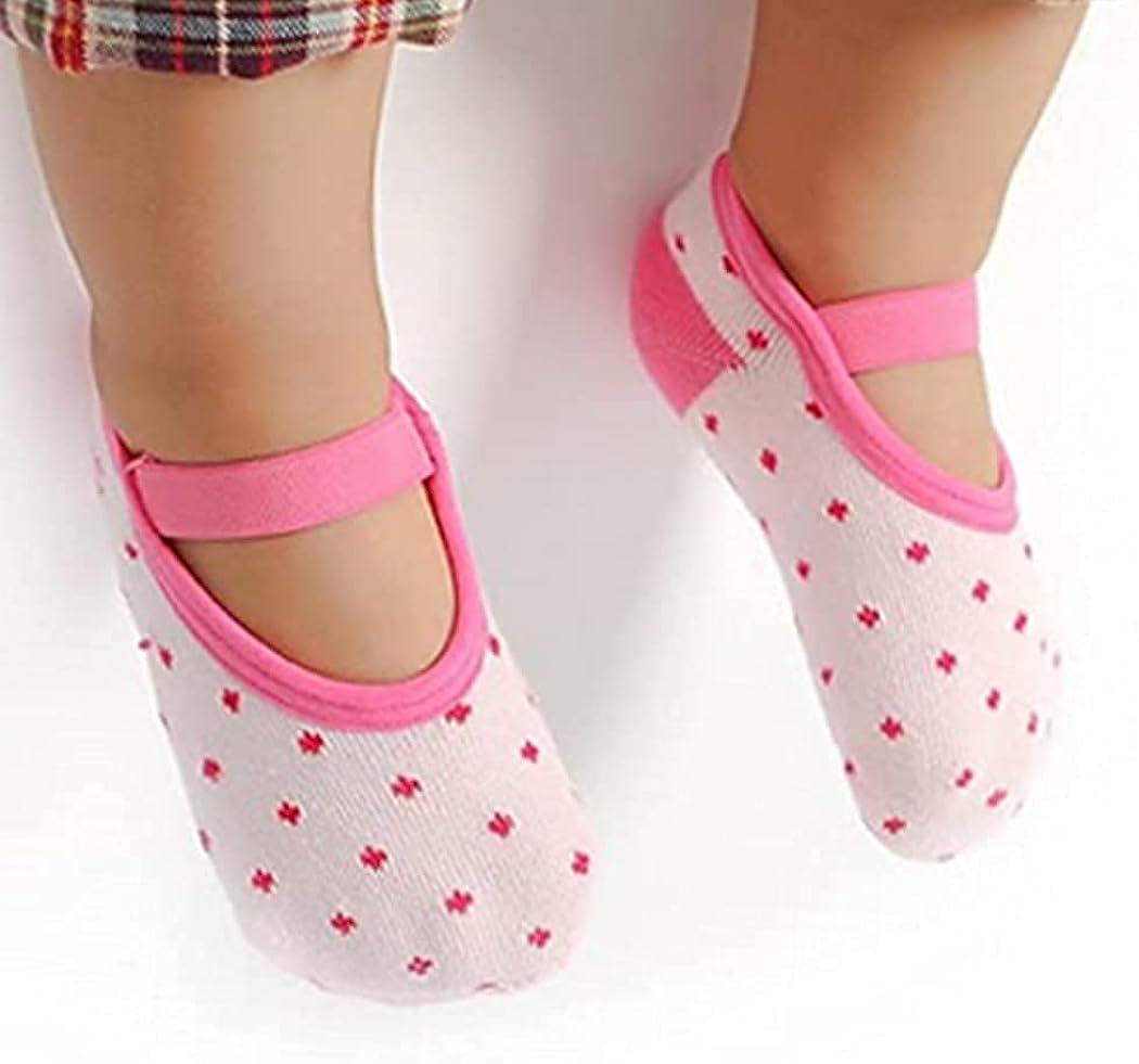 Baby Socks, Non Slip Toddler Socks 6 Pairs Cute Slipper Socks with Grippers Cotton Non-skid Soles Grip Socks Baby Walker for Girls Boys 8-36 Months