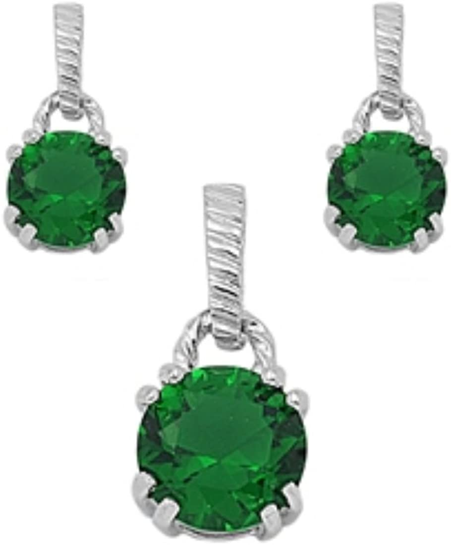 Blue Apple Co. Jewelry Set Popular Round Pendant Simulated Green Topics on TV Earring