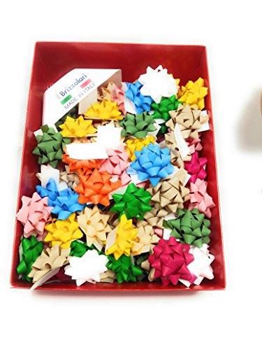 100 Étoiles adhésives mat couleurs assorties diamètre 5 cm