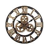ZZUU Soledi Vintage Clock Retro Vintage Europeo Hecho A Mano 3D Engranaje Antiguo Reloj De Pared De Madera Vintage
