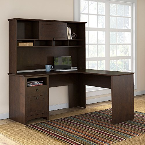 Buena Vista L Shaped Desk with Hutch in Madison Cherry (Kitchen)
