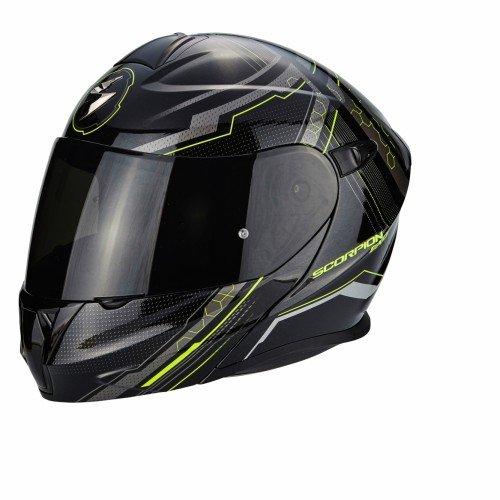 Scorpion Casco Moto EXO-920 SATELLITE, Black/Neon Yellow, SM