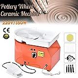 4yang ruota di ceramica elettrica, 25 cm 350 watt macchina ceramica con pedale e aggiorna i piatti abs con kit in ceramica da 8 pezzi (certificato ce) (orange)
