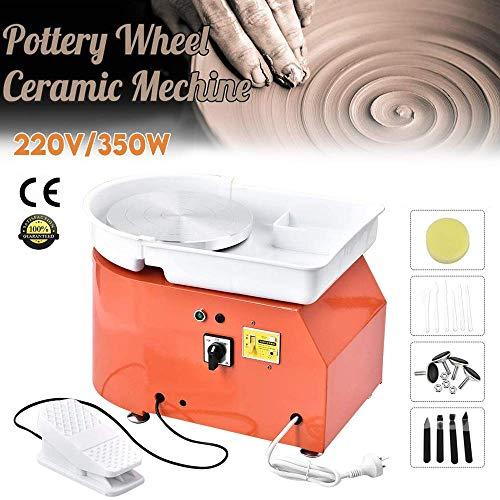 4YANG Rueda de cerámica eléctrica, 25 CM 350 Máquina de cerámica de vatios con pedal y actualizar platillos ABS con kit de cerámica de 8 piezas (certificado CE) (Orange)
