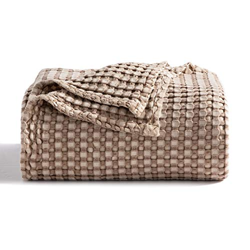 Bedsure 50% Cotton 50% Bamboo Blanket, Waffle Weave Blanket for Couch Bed, Soft Lightweight Blanket...