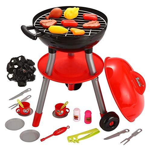 Set di mini barbecue portatile con luce, suono e divertimento, per la cucina interattiva, per la casa, il cortile, il barbecue e il barbecue, per bambini, la cucina giocattolo
