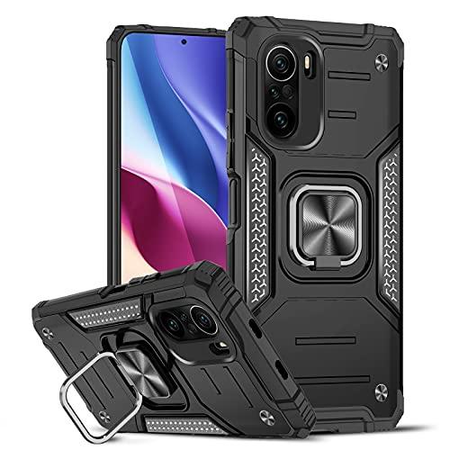 LeYi Funda para Xiaomi PocoF3 / Mi 11i Armor Carcasa,Soporte Hard PC y Silicona TPU Bumper antigolpes Case para Xiaomi PocoF3 / Mi 11i, Negro