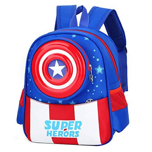 LINLIN Avengers Spiderman Schultasche für Kinder Kinder Kindergarten-Rucksack Bookbag für Kurzurlaub, Feiertage, Sleepovers und Klassenfahrten,Blue-29 * 24 * 12cm
