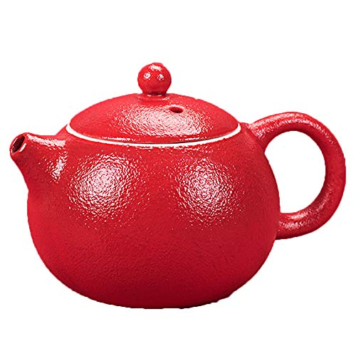 GYZD Tetera Tetera de té de Porcelana con la Tetera de Hoja Suelta floreciente Tetera roja de Mango de Kung fu Juego de té de fabricación de Tetera (210ml),Rojo