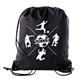 Soccer Party Favors | Soccer Drawstring Backpacks for Birthday Parties, Team events, and much more! - Black CA2500SOCCER S5