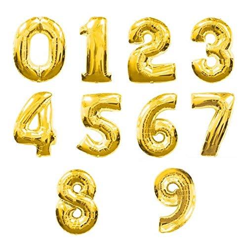Globos de papel de aluminio de color arcoíris grandes para fiestas de cumpleaños de 0 a 9 años, globos de helio para fiestas de bebé, fiesta de 40,6 cm, oro, número 8