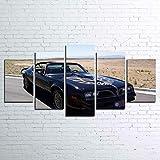 45Tdfc Lienzo de Pared Art Imagen para decoración del Azul Smokey Trans Am Classic Coche 5 Piezas Pinturas Moderna Estirada Enmarcado Arte Aceite