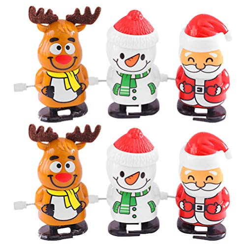 Amosfun 6pcs Christmas Wind Up Toys Santa Claus Snowman Reindeer Wind up Stocking Stuffers Christmas Party Favors for Kids (Random Color)