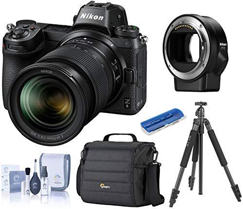 Nikon Z6 FX-Format Mirrorless Camera w/NIKKOR Z 24-70mm f/4 S Lens, Bundle with Mount Adapter FTZ, Camera Bag, Slik Sprint...