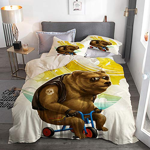 AIKIBELL Microfiber Lightweight Duvet Cover Sets,Beige,Brown Bear Ride Bike Funny Summer Breathable,Decorative 3D Print Bedding Set 260x220 with 2 Pillowcase 50x80,Single