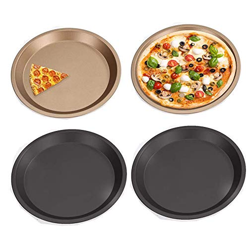 Schneespitze 4 Stück Rundes Pizzablech,Pizzablech 4er-Set,Pizzaform Pizza Backblech Backset aus beschichtetem Carbonstahl,16.5CM,Schwarz, Gold