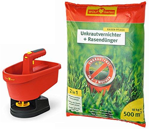 WOLF Garten Universal-Streuer WE-B; 5455000 + Unkrautvernichter Plus Rasendünger SQ 500; 3840652 (10 kg für 500 m²)