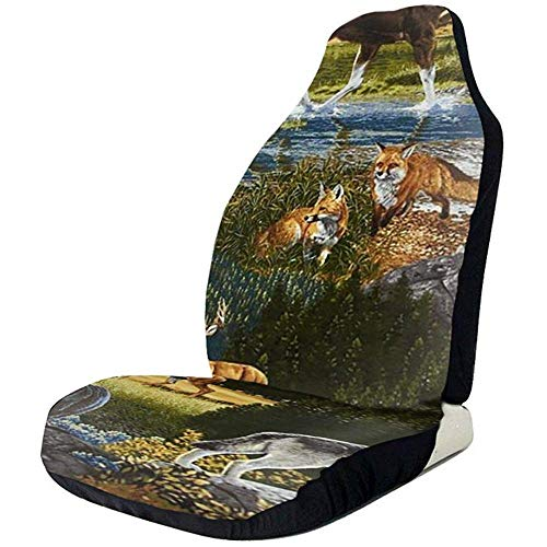Wild Animals autostoelhoezen, set van 2 stoelhoezen, universeel fit, complete set voor personenauto's, SUV