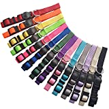 14 PCS Puppy ID Collars Nylon Soft Identification Colorful Adjustable Breakaway Safety Whelping Litter Collars for Pups with Record Keeping Charts 14pcs/Set