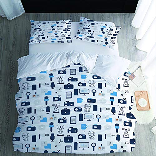 SMXSSJT Printed Duvet Cover Signal Tower Family Quilt Cover With Zipper Closure For Kids Teens Adults, Soft Microfiber Bedding.140X200Cm
