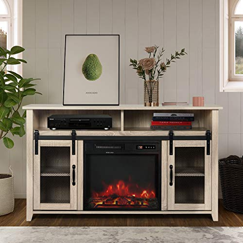 """ENSTVER TV Stand for TVs up to 55"""" with Electric Fireplace Included,Media Storage Television Console for Living Room (White Oak)"""