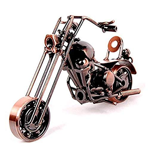 HomeZone Stylish Bronze Effect Metal Harley Davidson Inspired Chopper Motorbike Sculptures Nuts & Bolts Desk Office Sculpture Men's