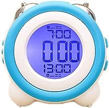 LED電子目覚まし時計ミュートナイトライトダブルベルスヌーズレイジーモダンファッションシンプルベッド美しいホームクリエイティブパーソナリティマルチカラー11.4cm * 7.9cm * 11.5cm CHENGYI (Color : Blue)