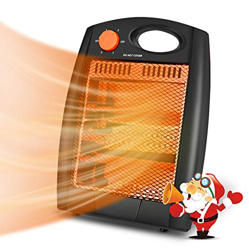 Portable Space Heater, Indoor Electric Heater with 2 Heat Settings, Infrared Radiant Quartz Heater without Fan, Quiet and Light Space Heater with Tip-Over and Overheat Protection, Warm up Immediately