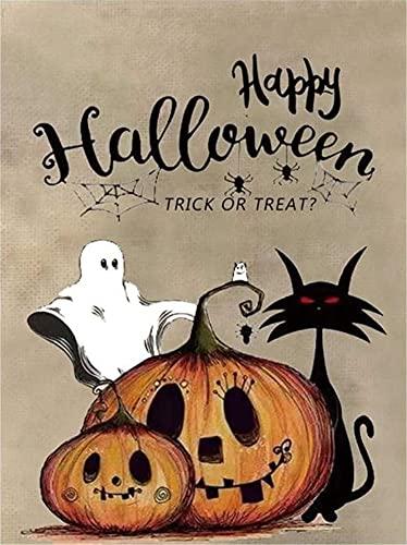NeuInwir - Kit de pintura de diamante para adultos, cabeza de calabaza, gato negro, citas de fantasma, feliz Halloween, 30 x 40 cm, 5D completo taladros redondos para manualidades (Halloween 6)