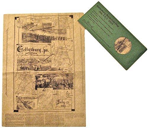Póster de Gettysburg Battlefield Mapa en sobres por documentos históricos