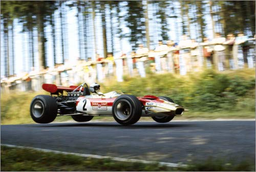 Poster 60 x 40 cm: Jochen Rindt, Lotus 49B Ford, Formel 1 Nürburgring 1969 von Motorsport Images - hochwertiger Kunstdruck, neues Kunstposter