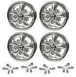Set Of 4 15' X 5-1/2' Vw Bug 5 Lug Silver Empi 5 Spoke Wheels & Lug Nuts