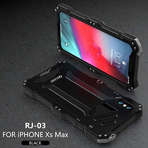 iPhone Xs Max Metallic Case,R-JUST Premium Shockproof Dropproof Aluminum Metal Protection Mechanical Armor Cover Case for iPhone Xs Max (5.8 Inch) (Black, iPhone Xs Max)